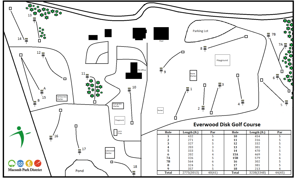Map of the Everwood Disc Golf Course